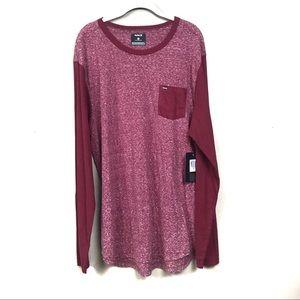 New with tags Hurley red longsleeve Raglan shirt